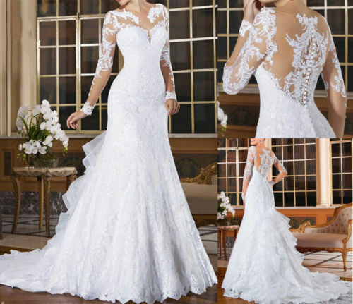 2019 White Bridal Gown Wedding Dresses Mermaid Long Sleeve Lace Custom All  Size