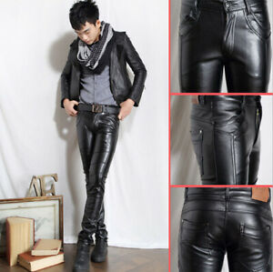 Fashion Mens PU Leather warm Skinny Slim Fit Trousers Black Boots Casual Pants