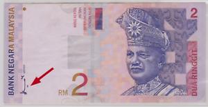 Mazuma *M951 Malaysia 8th $2 AW1585971 Minor Error AEF