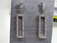 Glorius CZ Daimond Studded Dangle Rectangular Contemporary Silver Drop Earrings