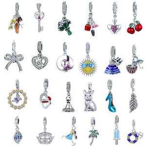 925-Sterling-Silver-European-Charms-Beads-Dangle-Pendant-CZ-Fits-Bracelets-Chain