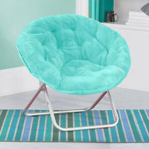 saucer chair folding portable dorm lounge aqua faux fur