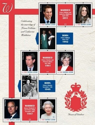 Sierra Leone-Royal Wedding Prince William And Kate Middleton Stamp-S/H of 6 MNH