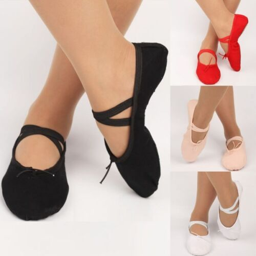 UK Girls Kids Adults Ballet Dance Shoes Canvas Fit Gymnastics Pointe Dance Shoes