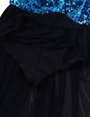Mädchen Neckholder Tanzkleid Pailletten Ballettkleid Unregelmäßige Tanz Kostüm