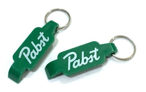 PBR Pabst Blue Ribbon Beer Can Bottle Opener Keychain LOT OF 2 Green St Pattys