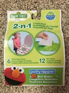 SESAME-STREET-2-n-1-Travel-Pack-6-Toilet-Seat-Covers-12-Wet-Wipes-Potty-Topper