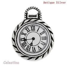 4 Antique Silver Pocket Watch Charms Alice In Wonderland - Clock Face Numerals