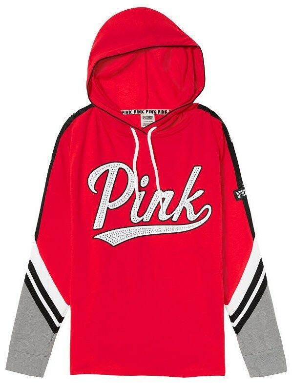 Victoria's Secret Pink Bling Rhinestone Campus Hoodie Tunic Neon Red M NIP