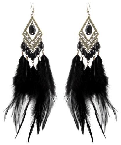 F2436 Noir Downy Boucles D/'oreilles Plume Perle Bronze Rhombus Charme Ornement
