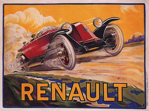 rot LUXURY CAR RENAULT SPEED ROAD TRAVEL FRANCE FRENCH VINTAGE POSTER REPRO