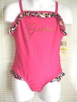 Guess Hot Pink 1 Piece Bathing Suit Swimsuit Girls Sz Medium M 5/6