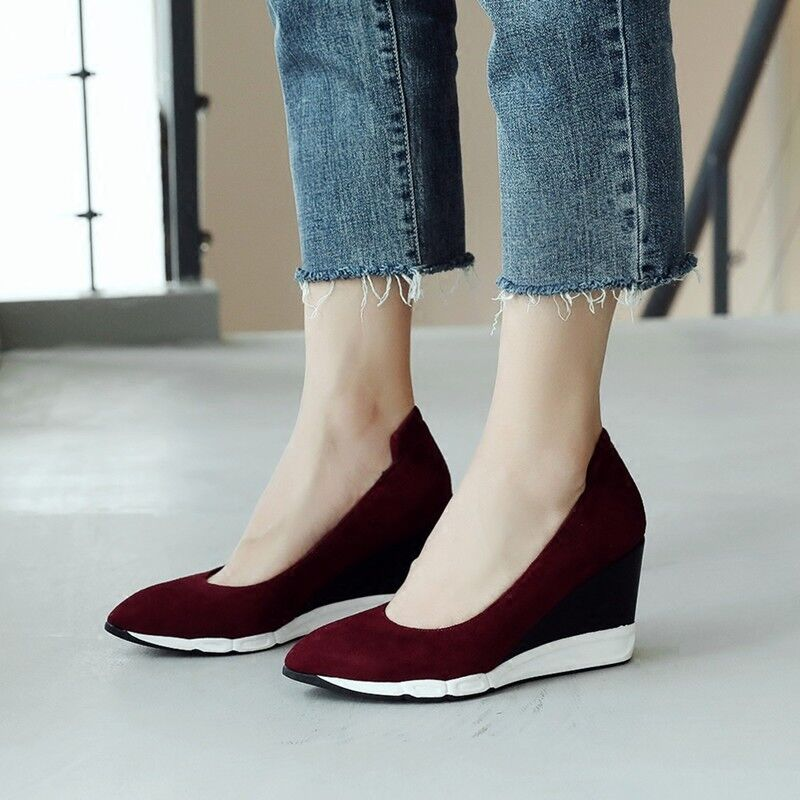 Womens Wedge Platform High Heels Real Leather Pointed Toe Casual Shoes Hot A615