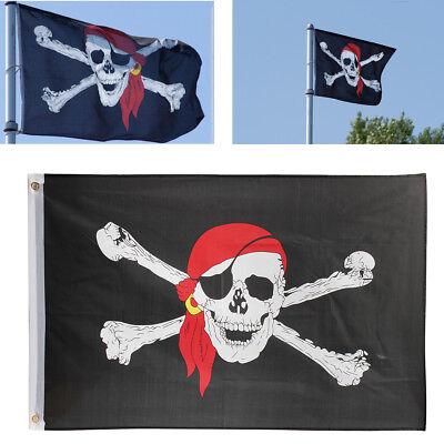 Large 5 x 3ft JOLLY ROGER PIRATE FLAG Skull Crossbones Caravan Camping Boat Kids