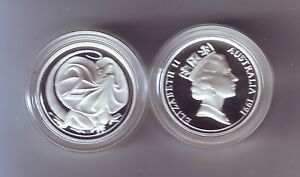 1991-SILVER-Proof-Two-2-Cent-Frilled-Necked-Dragon-Lizard-ex-Masterpieces