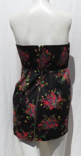 4 Free Floral Top Black Tunic Sz Stretch Strapless People Euc Long Cotton Print araxwPqp