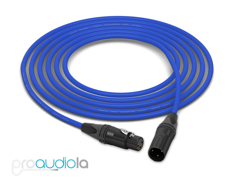 Mogami Quad 2534 Cable   Neutrik guld XLR-F XLR-M   blå 250 Feet   250 Ft. 250'