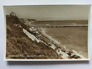 Bournemouth-Bay-from-West-Cliff-Vintage-B-amp-W-Postcard-1958