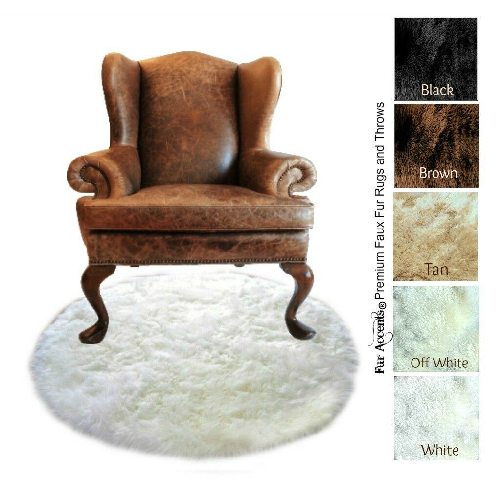 Round Faux Fur Throw Rug - bianca Shag Polar Bear - Sheepskin Flokati FUR ACCENTS