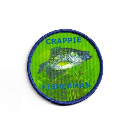 Crappie Fishing Patch Dye Sublimation Iron on Applique Handmade Edge Merrow