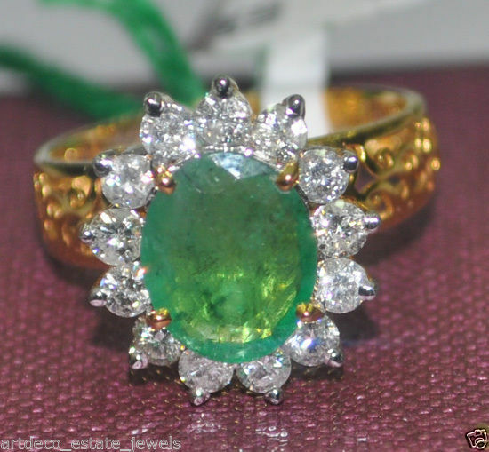 0.72CT NATURAL ROUND DIAMOND 14K SOLID YELLOW gold EMERALD WEDDING CLUSTER RING