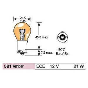 Offset Pins Box of 10 x 581 12v 21W BAU15S Indicator Bulbs