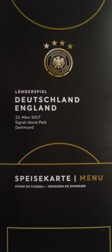 Speisekarte Menu 22.3.2017 Deutschland England # Abschied Poldi