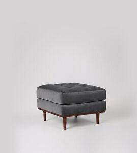 Swoon Berlin Living Room Modern Granite Pine Easy Velvet Ottoman - RRP £399