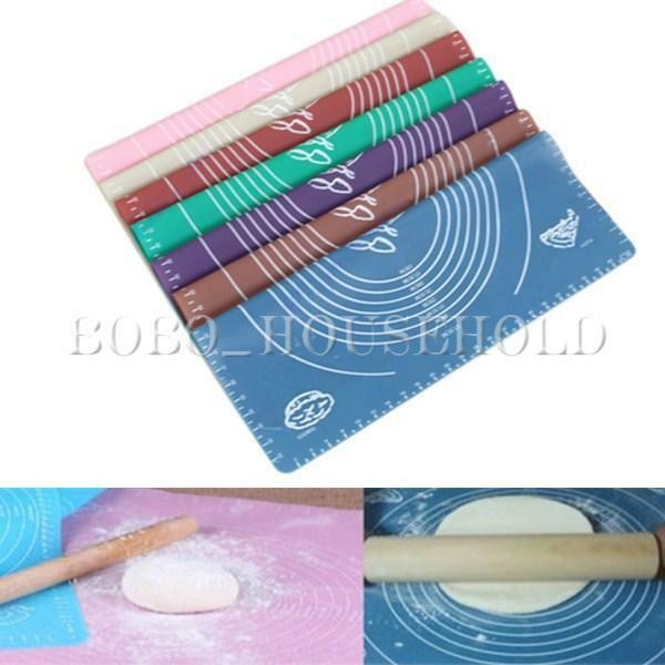 Silicone Roll Cut Mat Rolling Cutting Pad Square Fondant Cake Clay Decorating