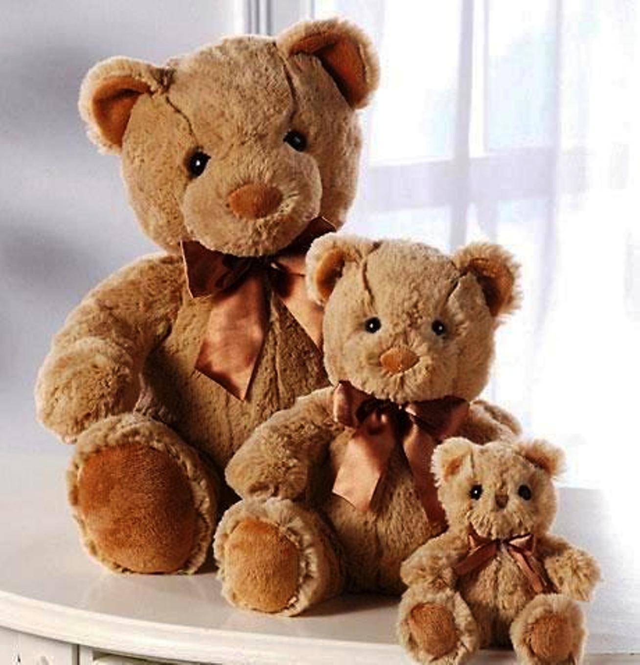 3 SOFT PLUSH TEDDY BEAR FAMILY COLLECTION SET OF THREE ~ 4-1/2  + 8-1/2  + 12