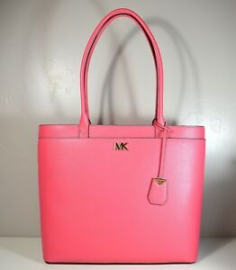 302e6b6be693 NWT MICHAEL KORS MADDIE ROSE PINK LEATHER LG NS TZ TOTE PURSE ...