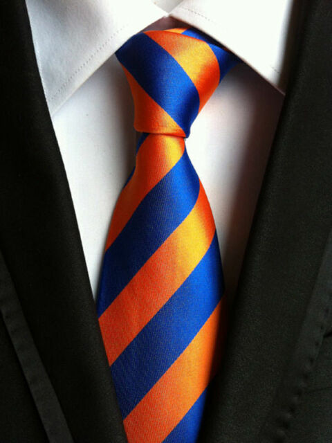 bf0d35c12dc7 XT065 luxury mans neck tie 100% silk wedding party orange royal blue stripe  ties