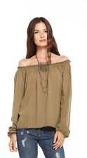 NWT CHASER LA OFF THE SHOULDER PEASANT TOP EARTH ARMY GREEN M