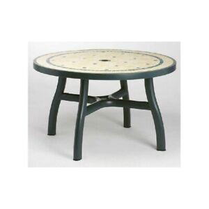Tavoli Da Giardino Decorati.Tavolo Rotondo In Resina Da Giardino Terrazza Gazebo Verde