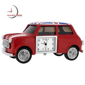 MINI-COOPER-CAR-STYLE-MINIATURE-CLOCK-COLLECTIBLE-w-UNION-JACK-BRITISH-FLAG