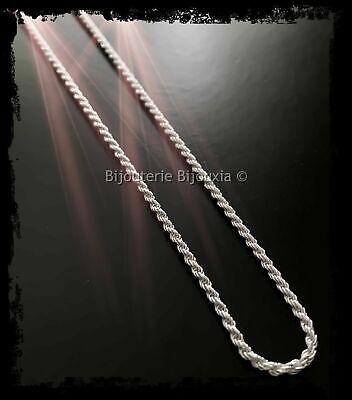 Chaîne Maille corde 60 cm  En Argent Massif 925//1000  Poinçonné Bijoux Femme