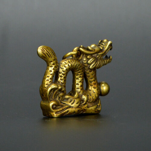 Chinese old collection handwork bronze Zodiac Dragon God statue Pendant