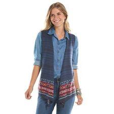 NEW Chaps Denim Womens Open Vest Cardigan Sweater Aztec Southwest M L $69 NWT