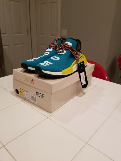 new product 2fd2c 48cbe Adidas NMD Human Race Trail Pharrell Williams Sun Glow Hu Clouds Teal AC7188