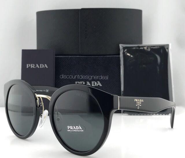 8afb6f98959dc Prada Round Sunglasses SPR 05T PR 05T Black Gray Lens 1AB-1A1 Brand New