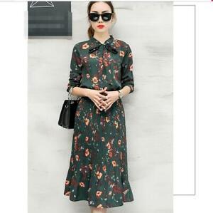 2e73bcc3a6 2019 New Womens Ladies Fashion Korean Slim Chiffon Dress Long Floral ...