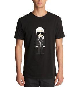Karl-Lagerfeld-Mens-T-Shirt-Black-Size-XL-Caricature-Crewneck-Tee-49-067