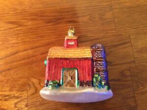 "Glass HOLIDAY RED BARN FARM Christmas Ornament, 4"" Tall ..."