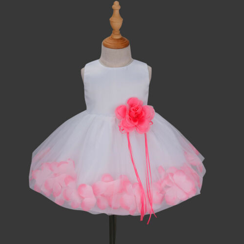 UK Baby Petals Flower Girl Dress Princess Gown Wedding Party Birthday Formal