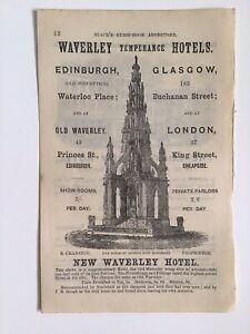 WAVERLEY-HOTEL-EDINBURGH-1868-Original-Antique-Advert-Walter-Scott-Monument