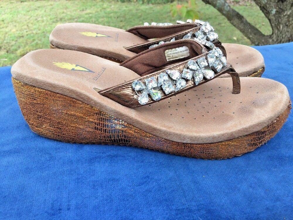 SALE @ VOLATILE DIAMOND RHINESTONE Leather High Heels Sandals shoes Womens Sz 8