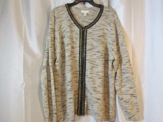 NWT NWT NWT Charter Club Woman 3X Metallic gold Zipper Front Sweater Org  119.50 f83aa7