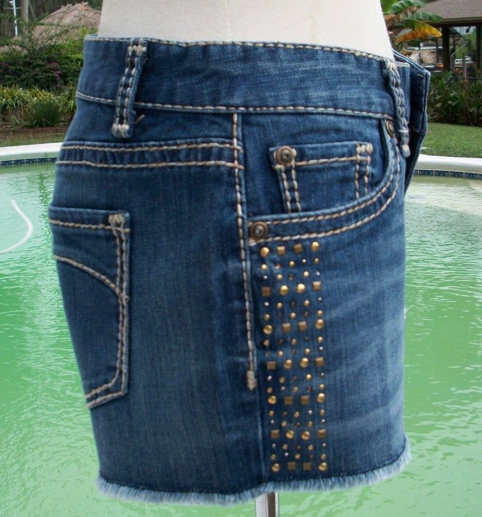 Cache Denim Stud Nail Head Embellished Short Stretch Pant New XS S 0 2 4 6  88