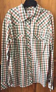 DICKIES-Women-039-s-Peach-White-Green-Long-Sleeve-Plaid-Snap-Front-Shirt-FL051PSG