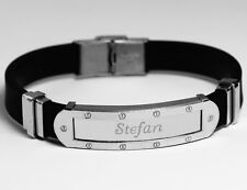STEFAN - Mens Bracelet With Name - Silver Tone With Frame - Accessories Gifts